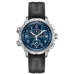 Hamilton KHAKI X-WIND GMT CHRONO QUARTZ - 100 M - ∅46 mm, Esfera azul, brazalete de caucho negro