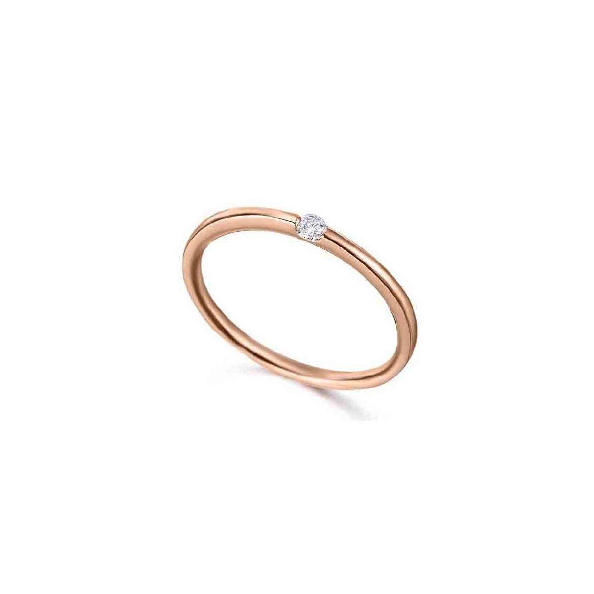 Anillo de oro rosa de 18 quilates con Diamante talla brillante calidad H/S.I. peso total 0,04 quilates