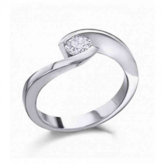 Anillo de oro blanco de 18 quilates con Diamante talla brillante calidad H/VS peso total 0,42 quilates