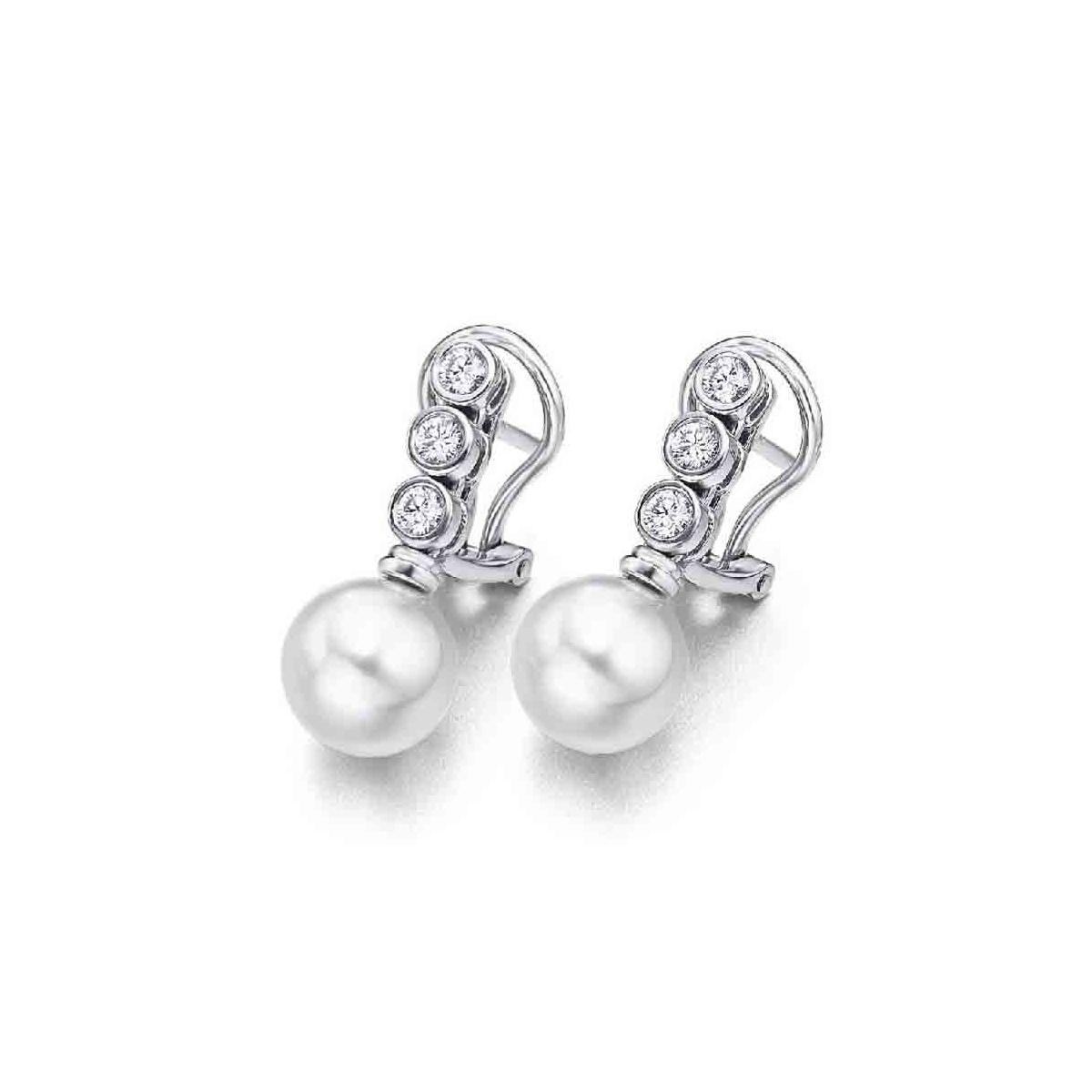 Pendientes oro blanco, perlas y Diamantes 0,37 quilates