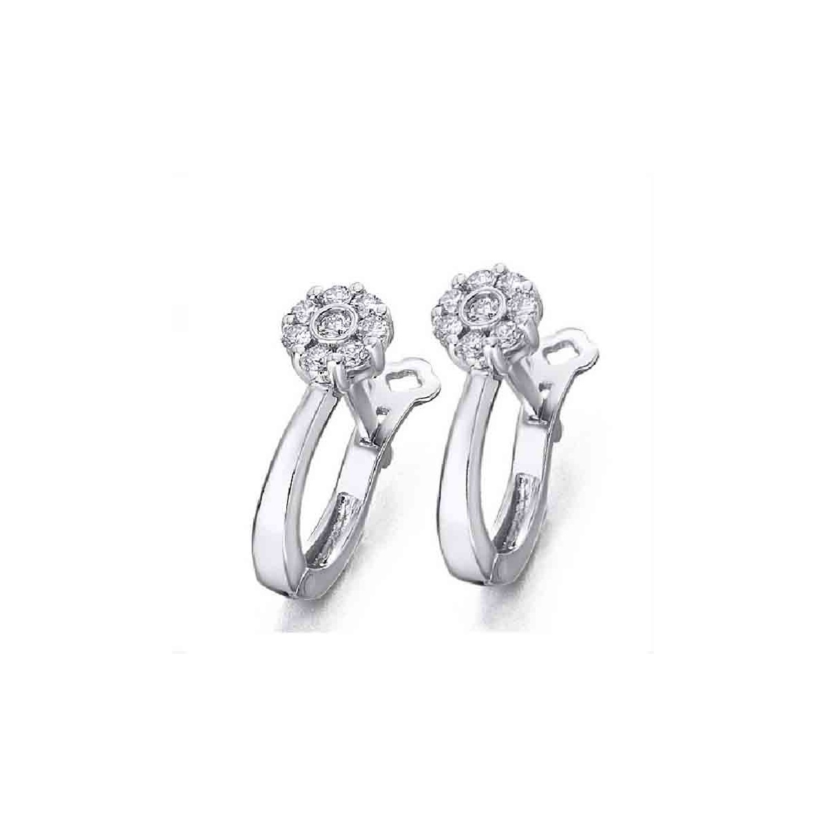 Pendientes oro blanco y Diamantes 0,20 quilates