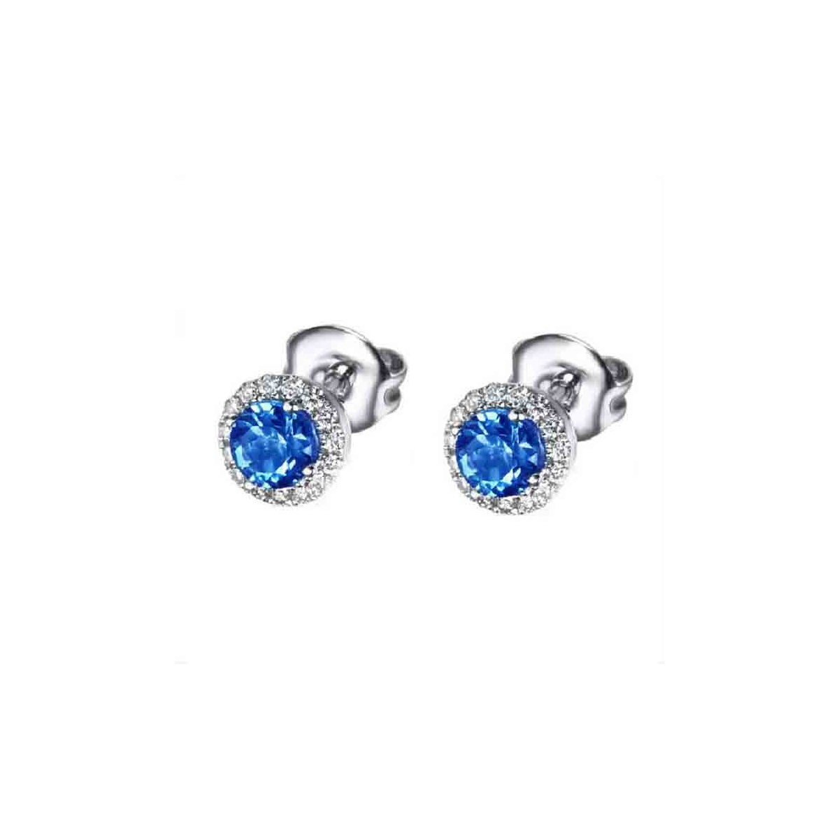 Pendientes de oro blanco con Zafiro y Diamantes 5mm - 0,27 quilates