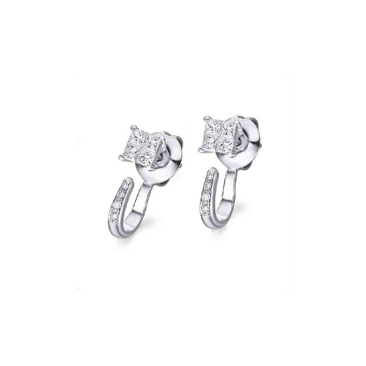 Pendientes oro blanco y Diamantes - 2,10 x 2,10 mm - 0,47 quilates