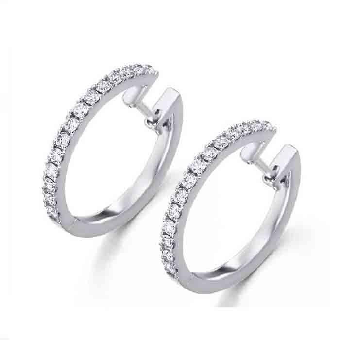 Pendientes Aro Oro Blanco Y Diamantes 0 52 Quilates Joyeria Mapy