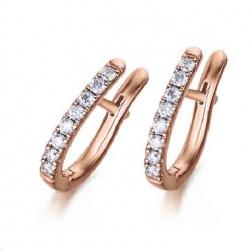 Pendientes Arete oro rosa con Diamantes - 0,28 quilates