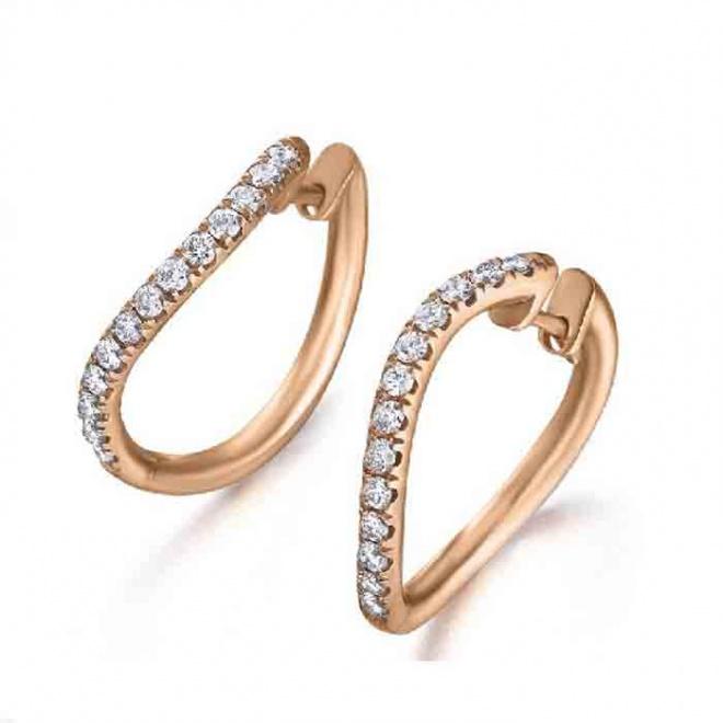 Pendientes Arete oro rosa con diamantes - 0,47 quilates