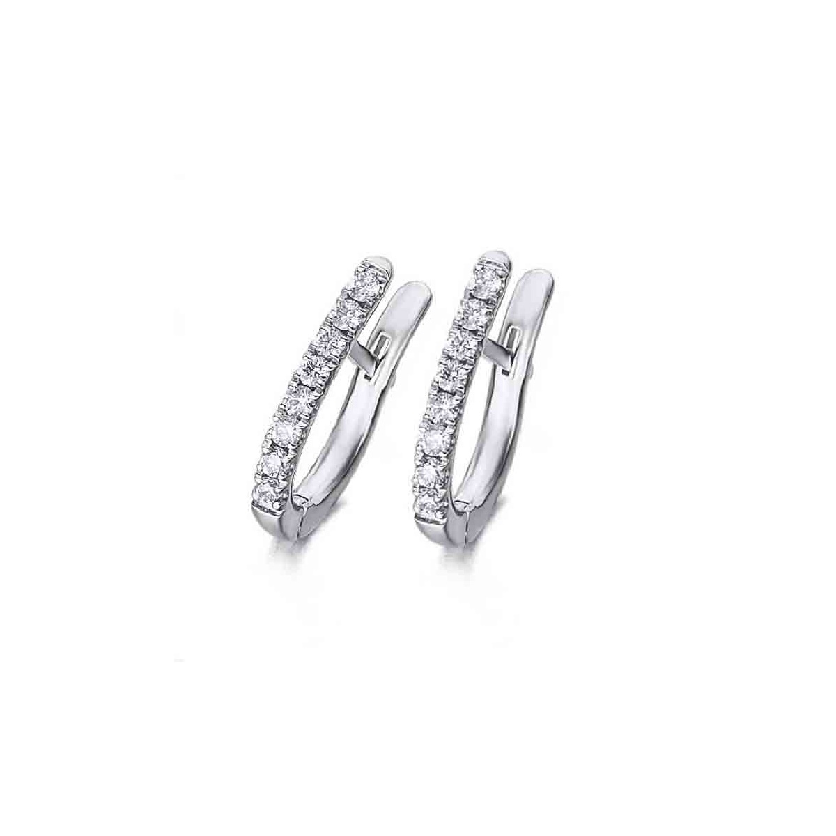 Pendientes Arete oro blanco y Diamantes - 0,22 quilates