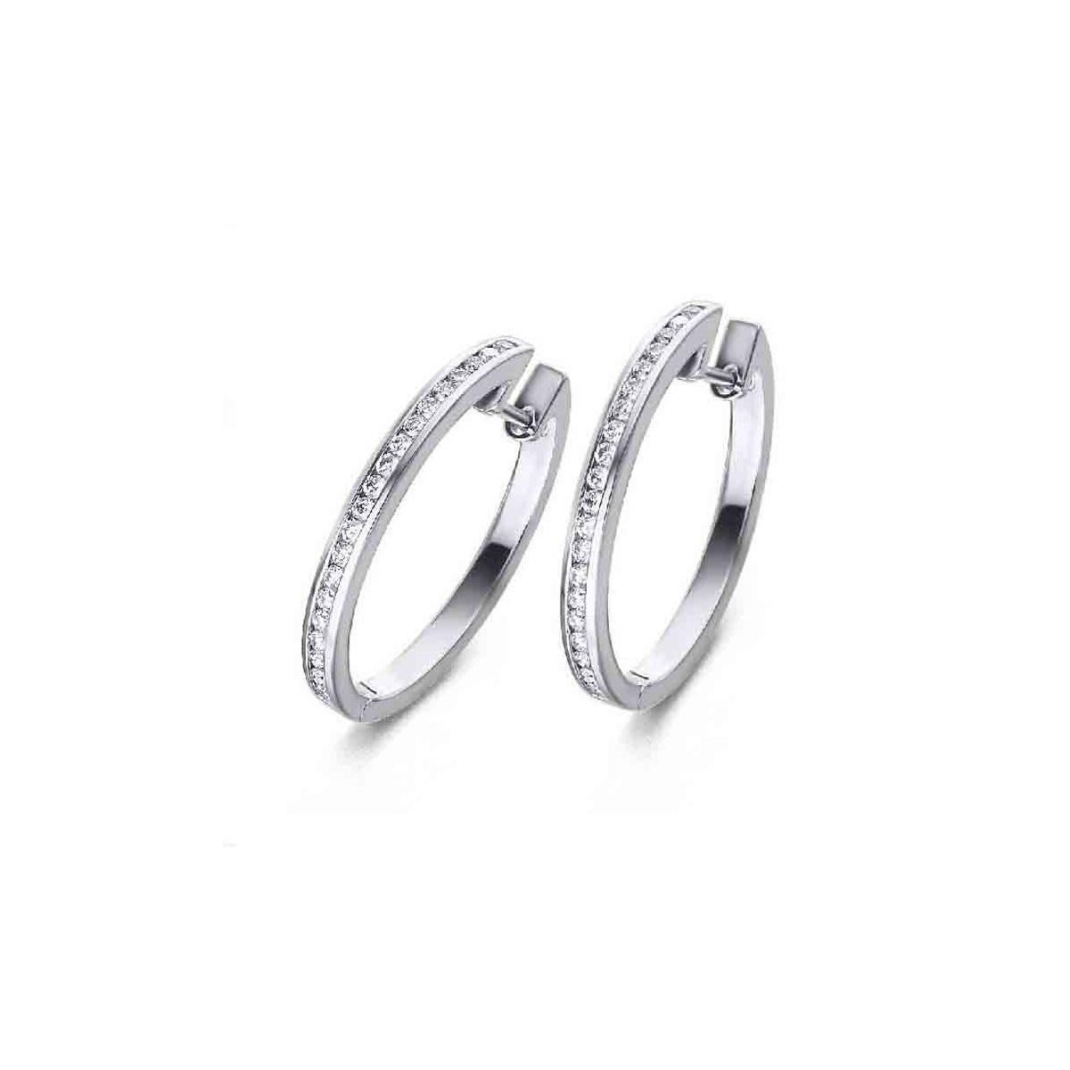 Pendientes Aro oro blanco y Diamantes - 0,55 quilates