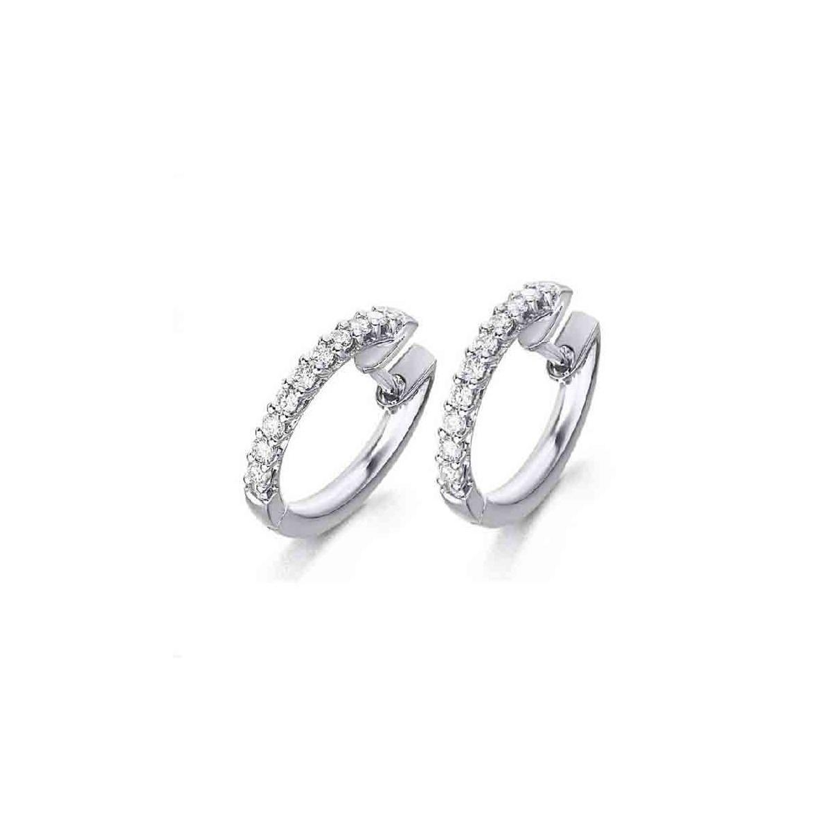 Pendientes Aro oro blanco y Diamantes en garras - 0,42 quilates