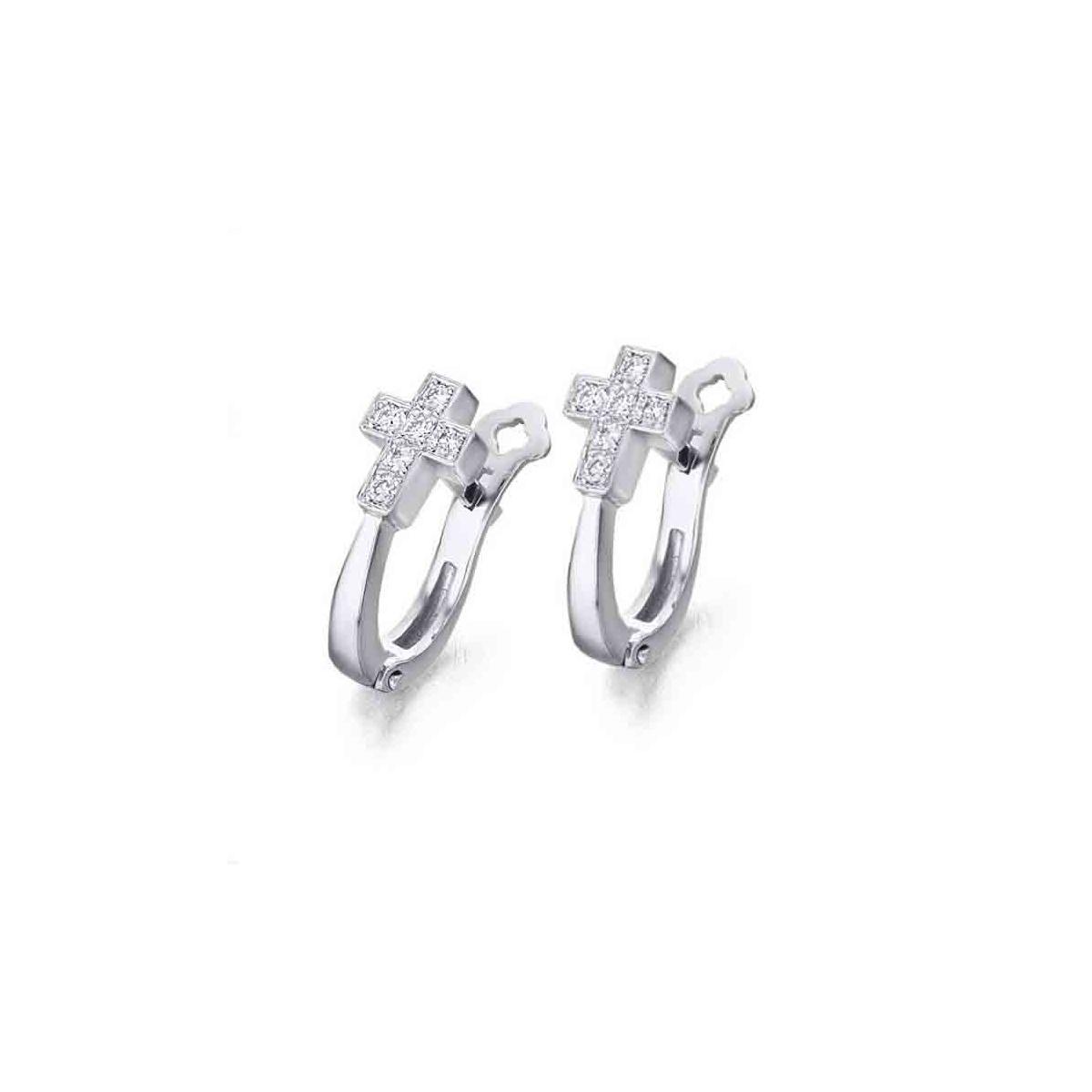 Pendientes oro blanco y Diamantes Cruz - 0,10 quilates