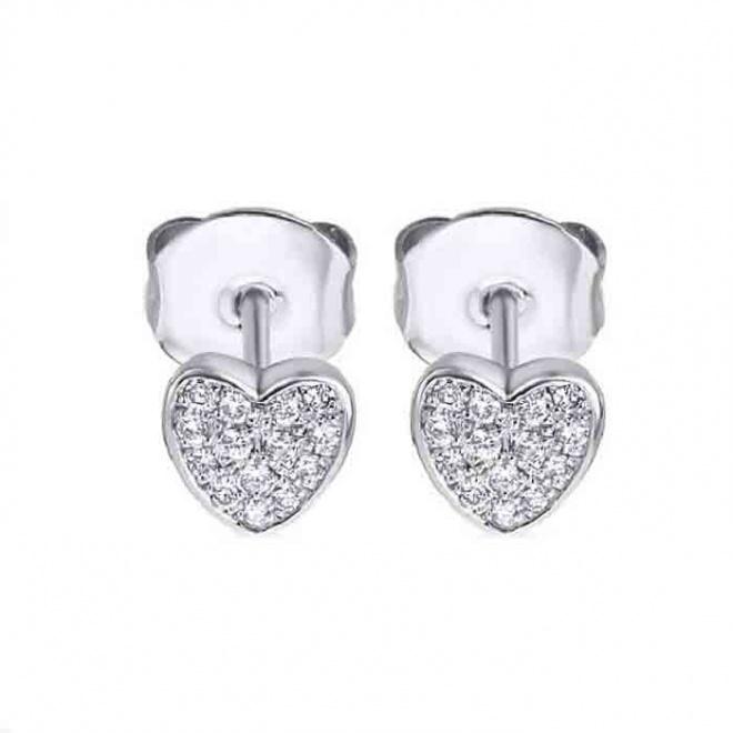 Pendientes oro blanco y Diamantes - Corazon - 0,10 quilates