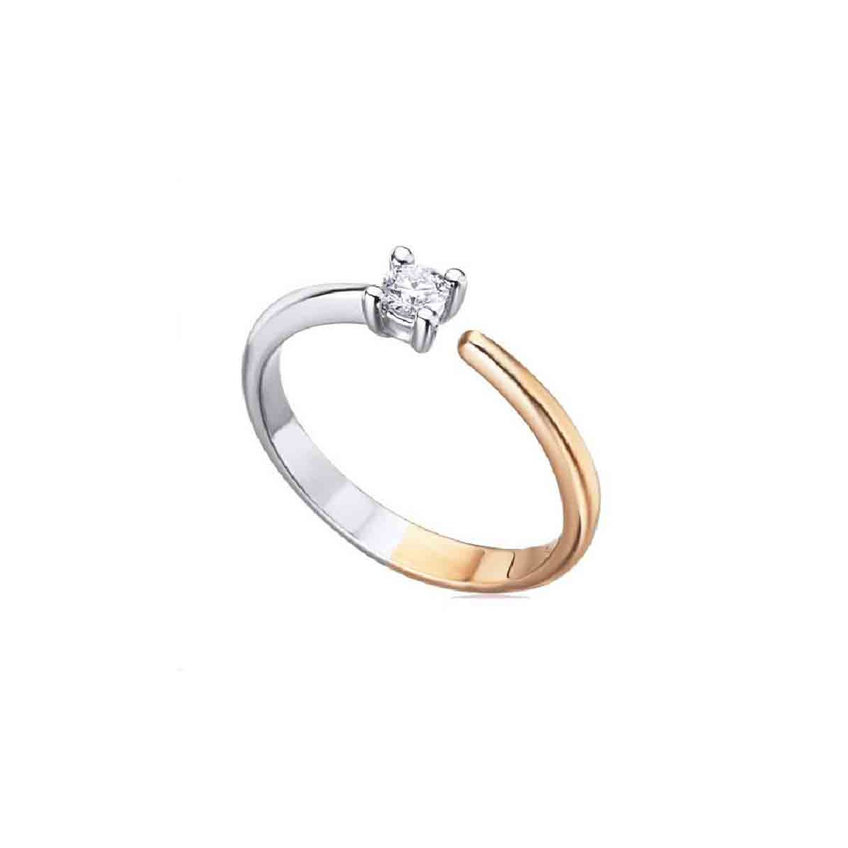 Anillo oro blanco, rosa y Diamantes - 0,12 quilates