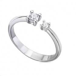 Anillo oro blanco y 2 Diamantes - 0,08 quilates