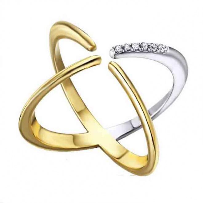 Anillo oro blanco y amarillo con Diamantes - 0,04 quilates
