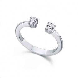 Anillo oro blanco y 2 Diamantes - 0,30 quilates