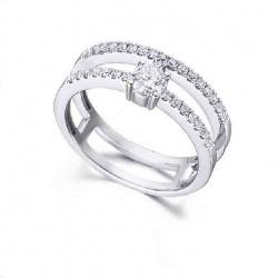 Anillo oro blanco y Diamantes - 0,58 quilates