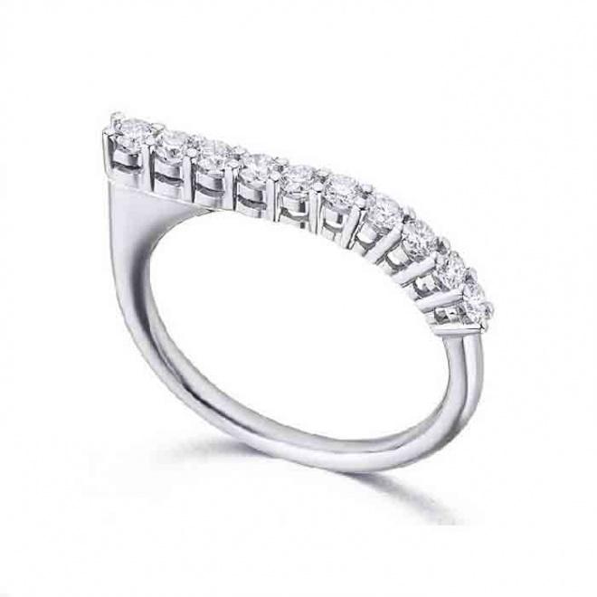 Anillo oro blanco y Diamantes - 0,38 quilates