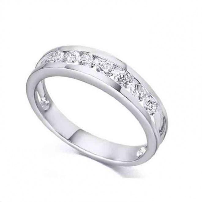 Anillo media alianza oro blanco y diamante - 0,29 quilates