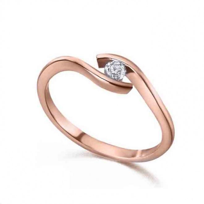 Anillo oro rosa y Diamante - 0,08 quilates