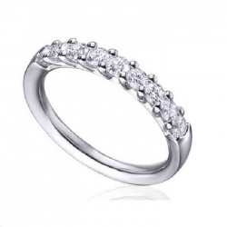 Anillo media alianza en garras oro blanco con diamantes - 0,50 quilates