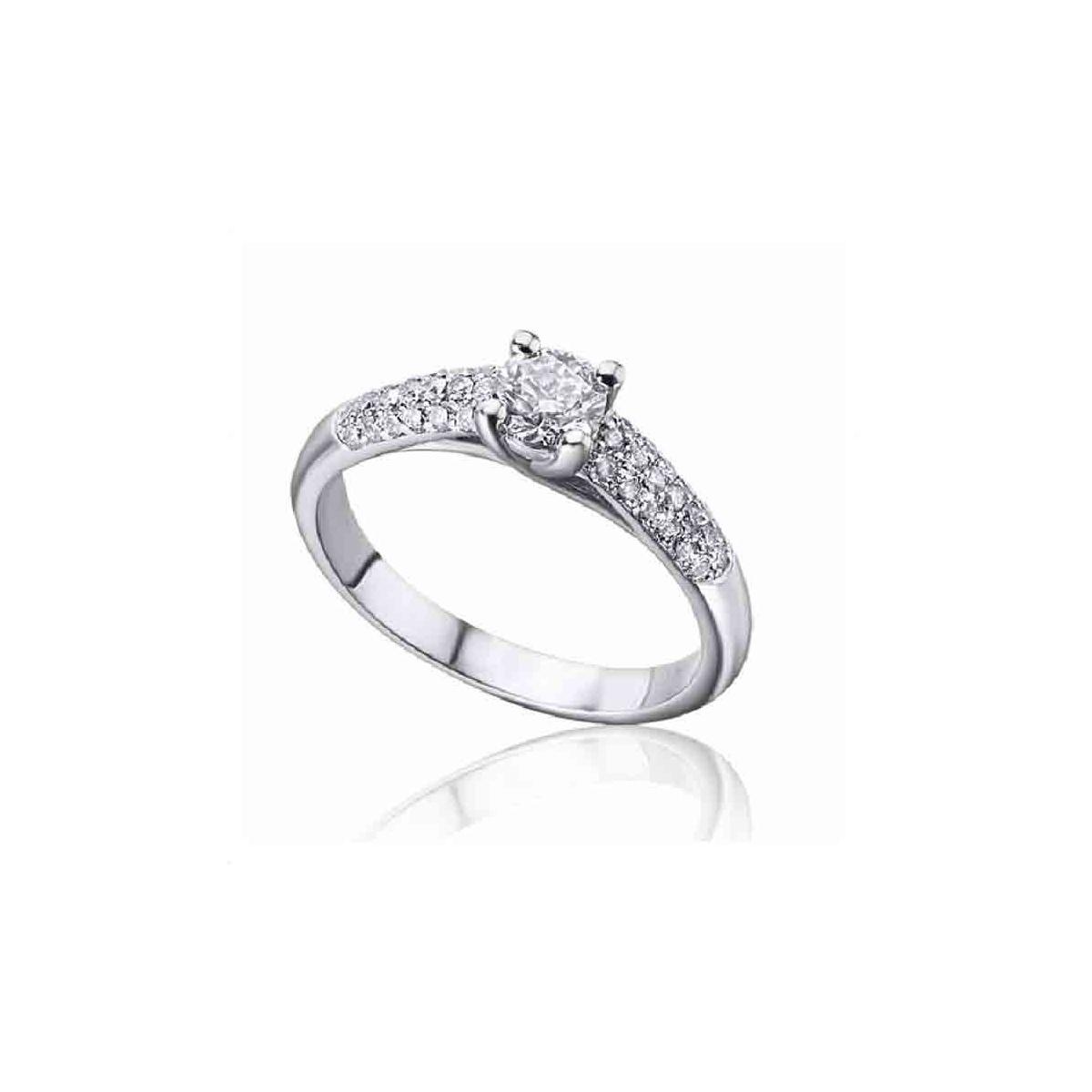 Anillo oro blanco y Diamantes - 0,69 quilates