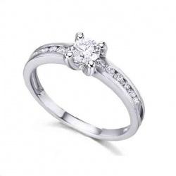 Anillo oro blanco y Diamantes - 0,48 quilates