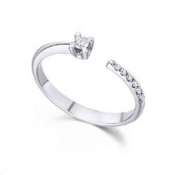 Anillo oro blanco y Diamantes - 0,11 quilates