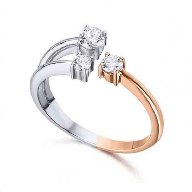 Anillo oro blanco y rosa con diamantes - 0,36 quilates