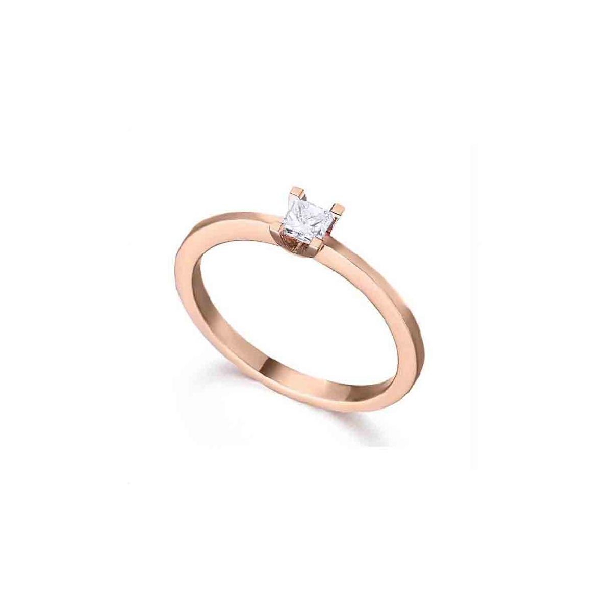 Anillo solitario oro rosa y Diamante - 0,16 quilates