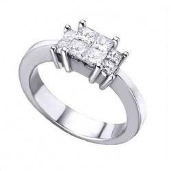 Anillo oro blanco y Diamantes - 0,98 quilates