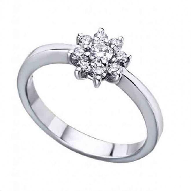 Anillo oro blanco y Diamantes - 0,32 quilates