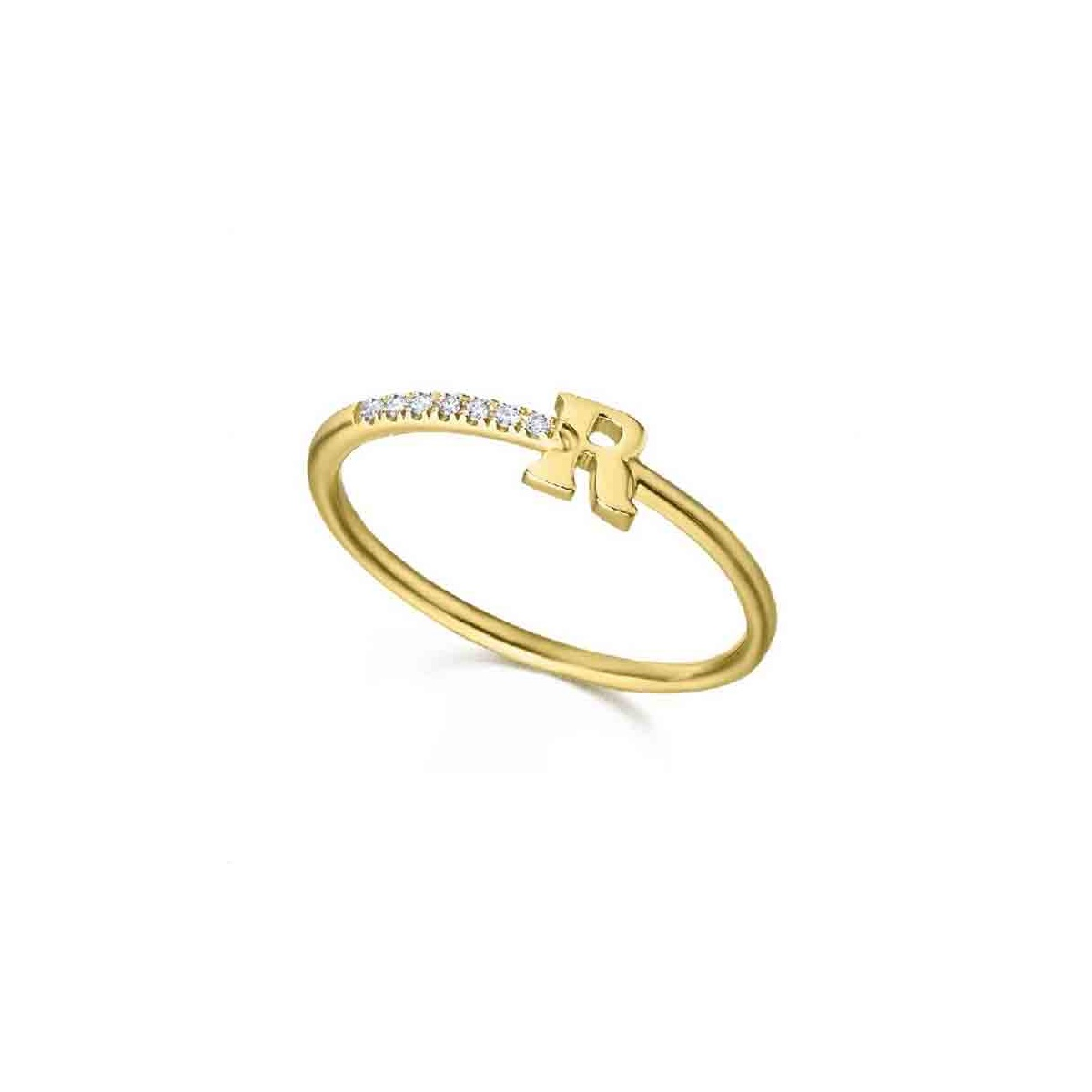 Anillo inicial oro amarillo y Diamantes - 0,02 quilates