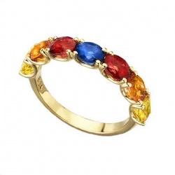 Anillo de oro amarillo con Zafiros y Diamantes - 0,03 quilates