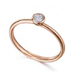 Anillo chaton oro rosa y Diamante - 0,07 quilates