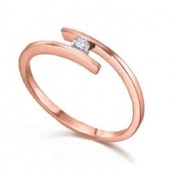 Anillo oro rosa y Diamante - 0,07 quilates