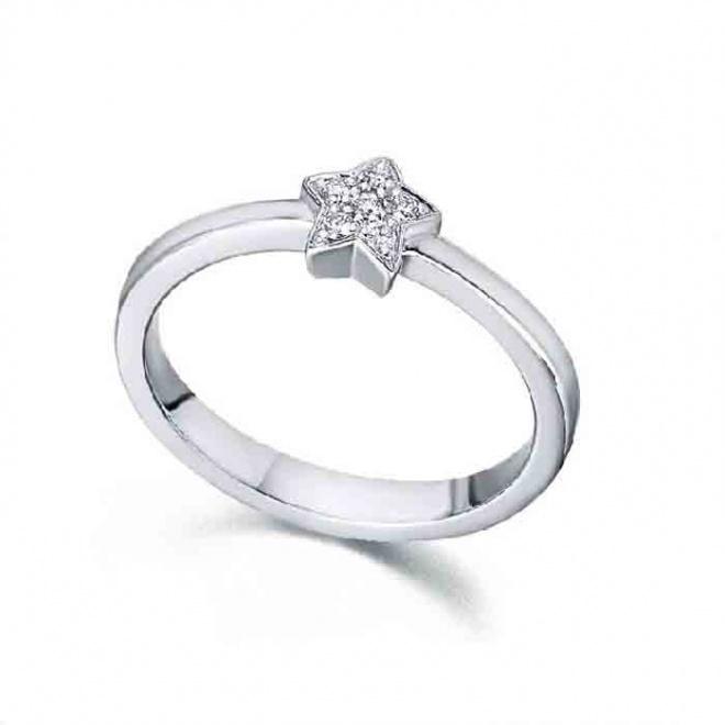 Anillo oro blanco y Diamantes - Estrella 0,04 quilates