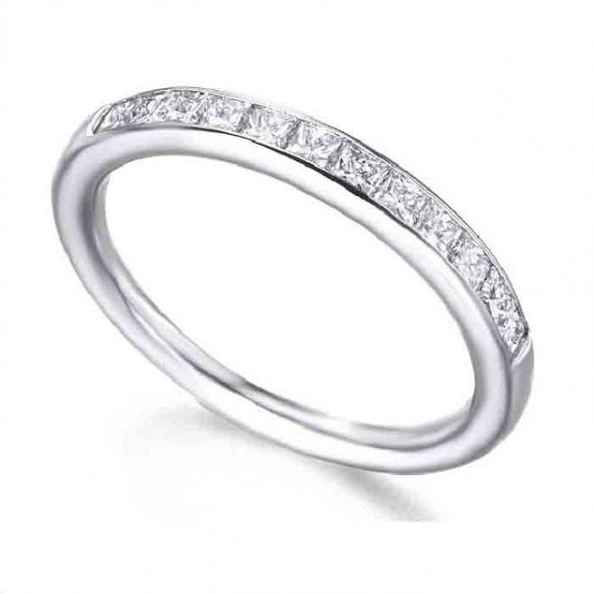 Anillo media alianza oro blanco y Diamantes - 0,54 quilates