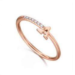 Anillo inicial oro rosa y Diamantes - Inicial - 0,02 quilates