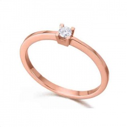 Anillo solitario 4 garras oro rosa y Diamante 0,07 quilates