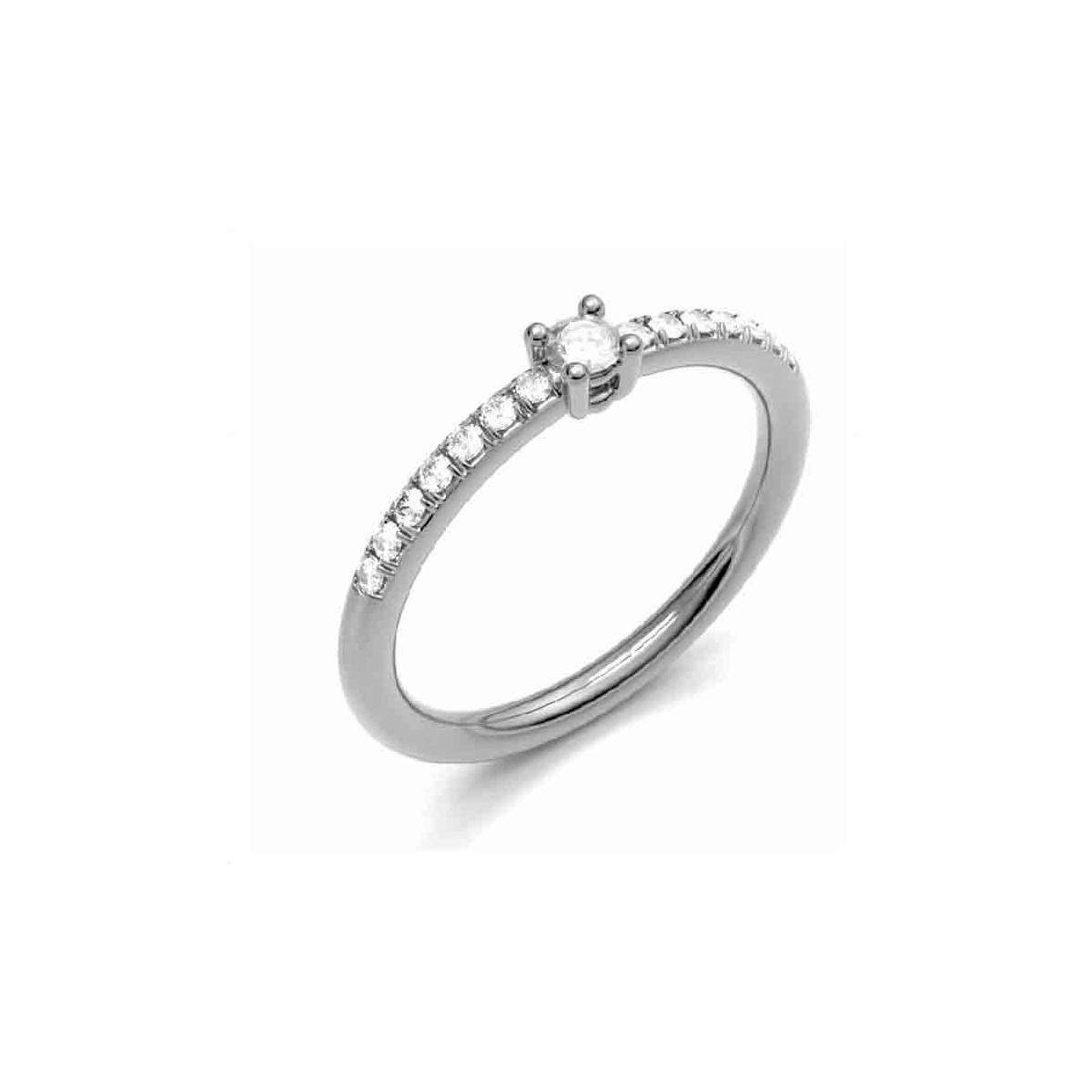 Anillo oro blanco y Diamantes - 0,16 quilates