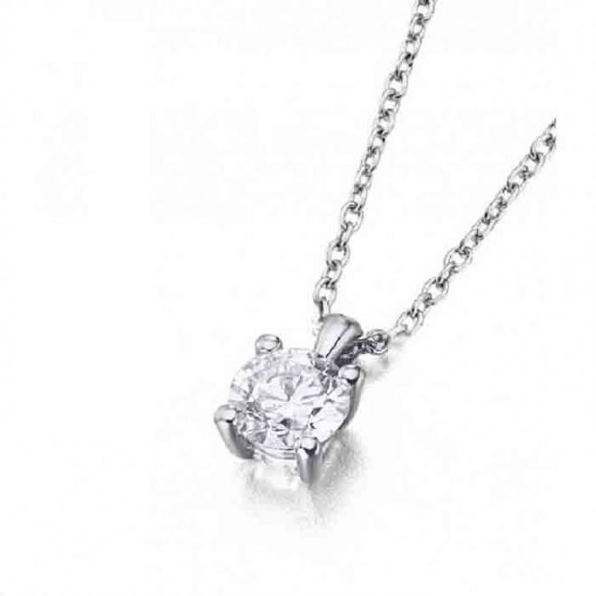 Colgante oro blanco y Diamante 4 garras - 0,18 quilates
