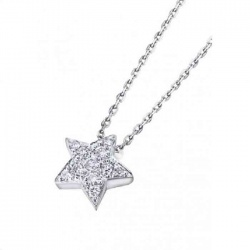 Colgante oro blanco y Diamantes - Estrella 0,09 quilates