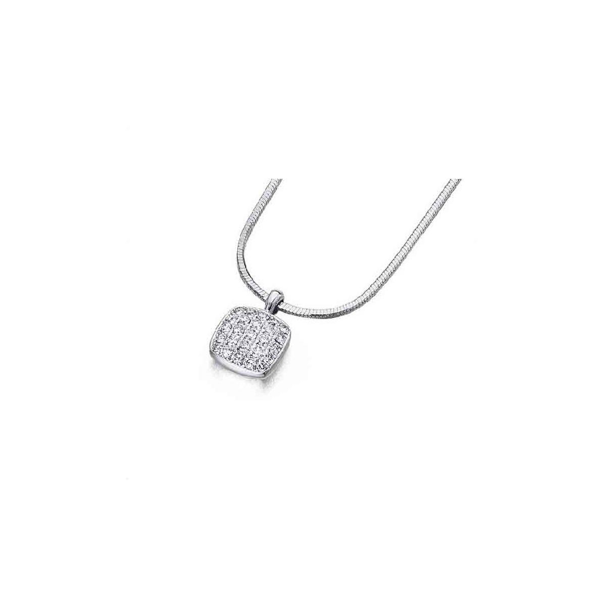 Colgante oro blanco y Diamantes - 0,18 quilates