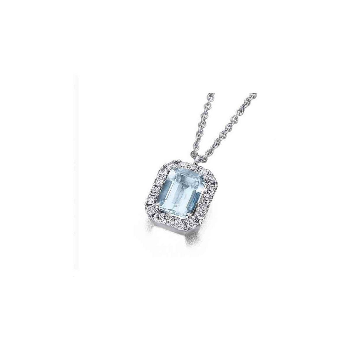 Colgante de oro blanco con Aguamarina y orla de Diamantes - 8x6 - 0,26 quilates