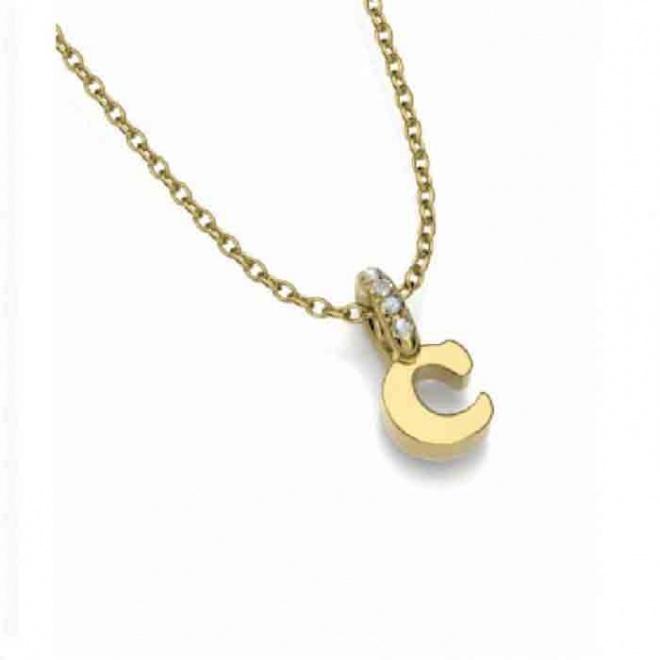 Colgante oro amarillo y diamantes - inicial - 0,01 quilates