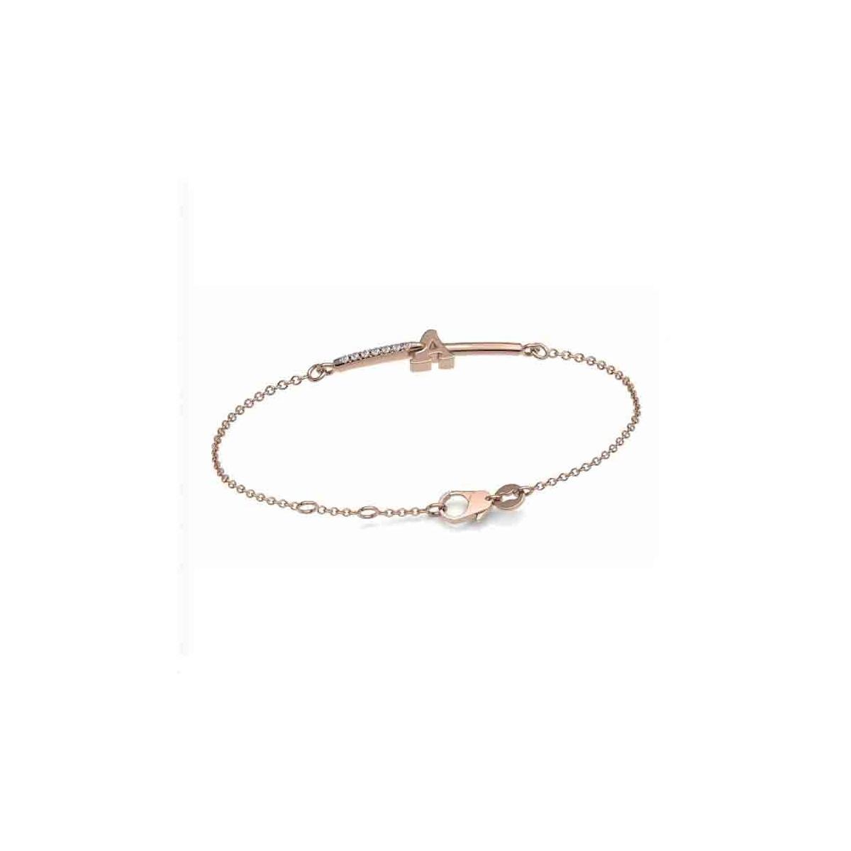 Pulsera oro rosa y diamantes - Inicial - 0,02 quilates