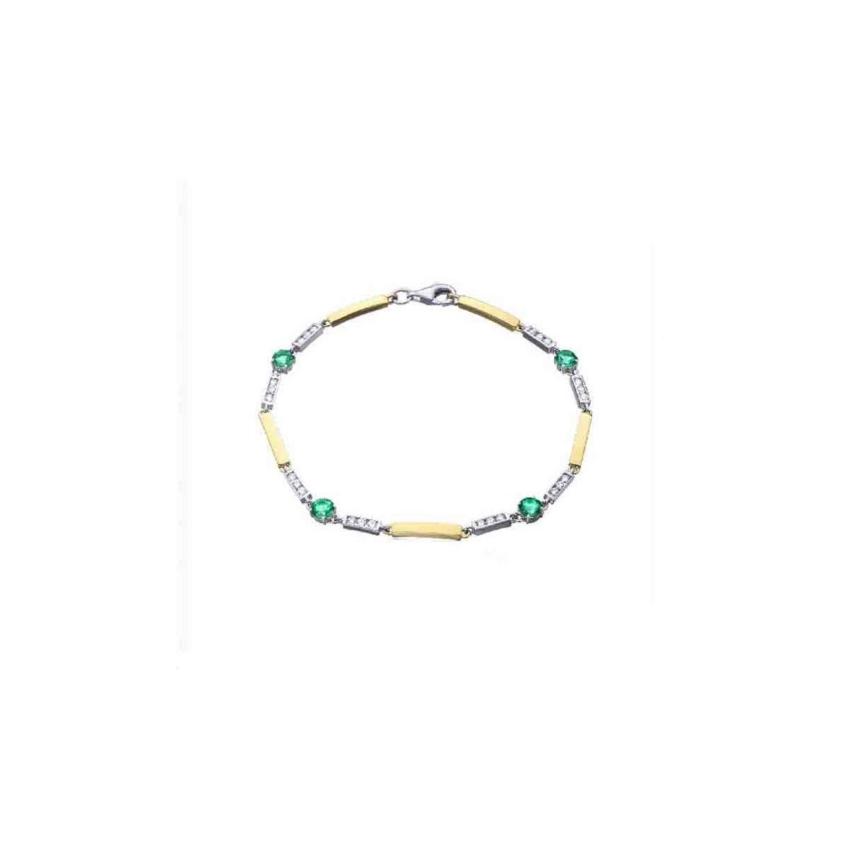Pulsera oro blanco y amarillo con Diamantes y Esmeraldas - 4 mm - 0,49 quilates