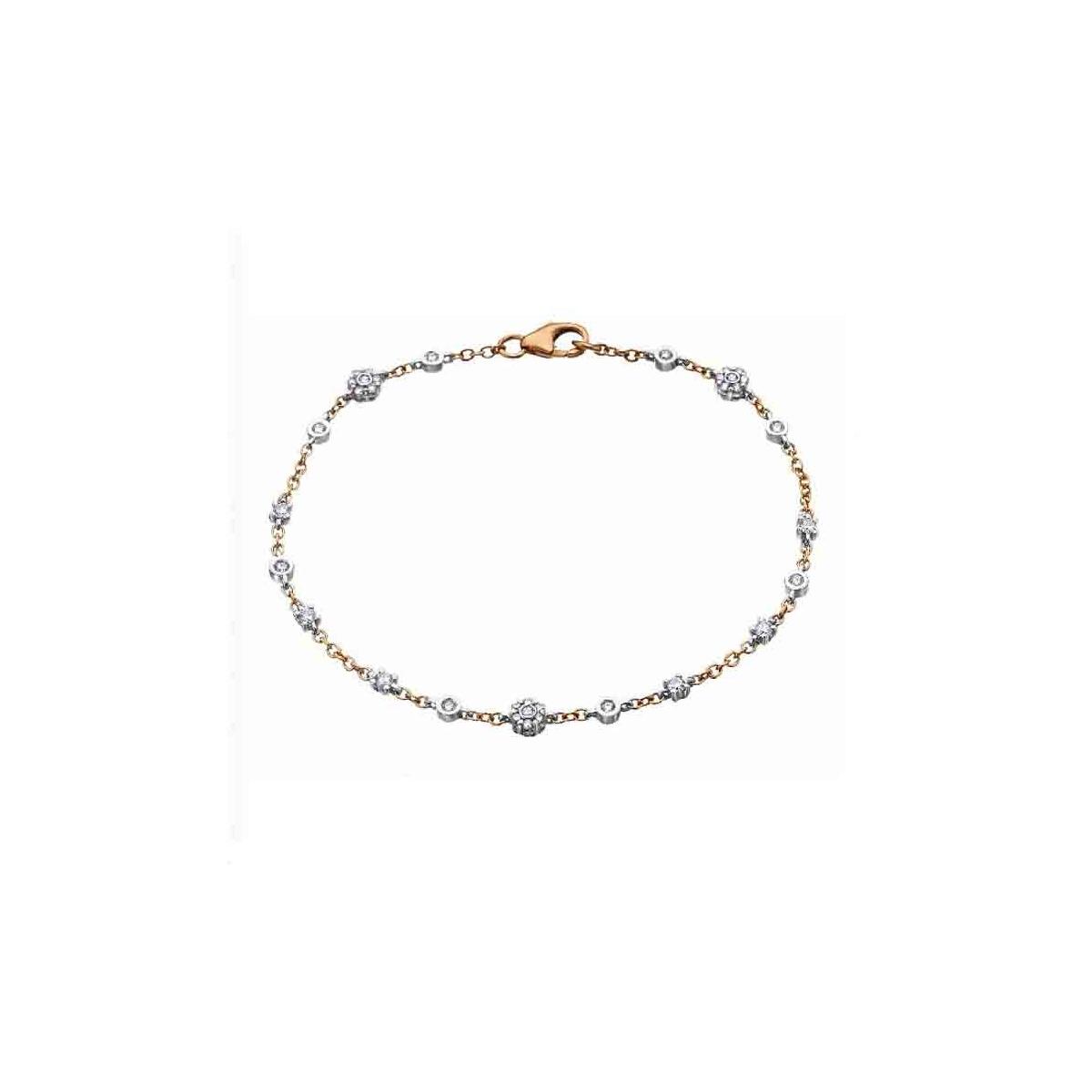 Pulsera oro blanco y rosa con Diamantes - 0,49 quilates