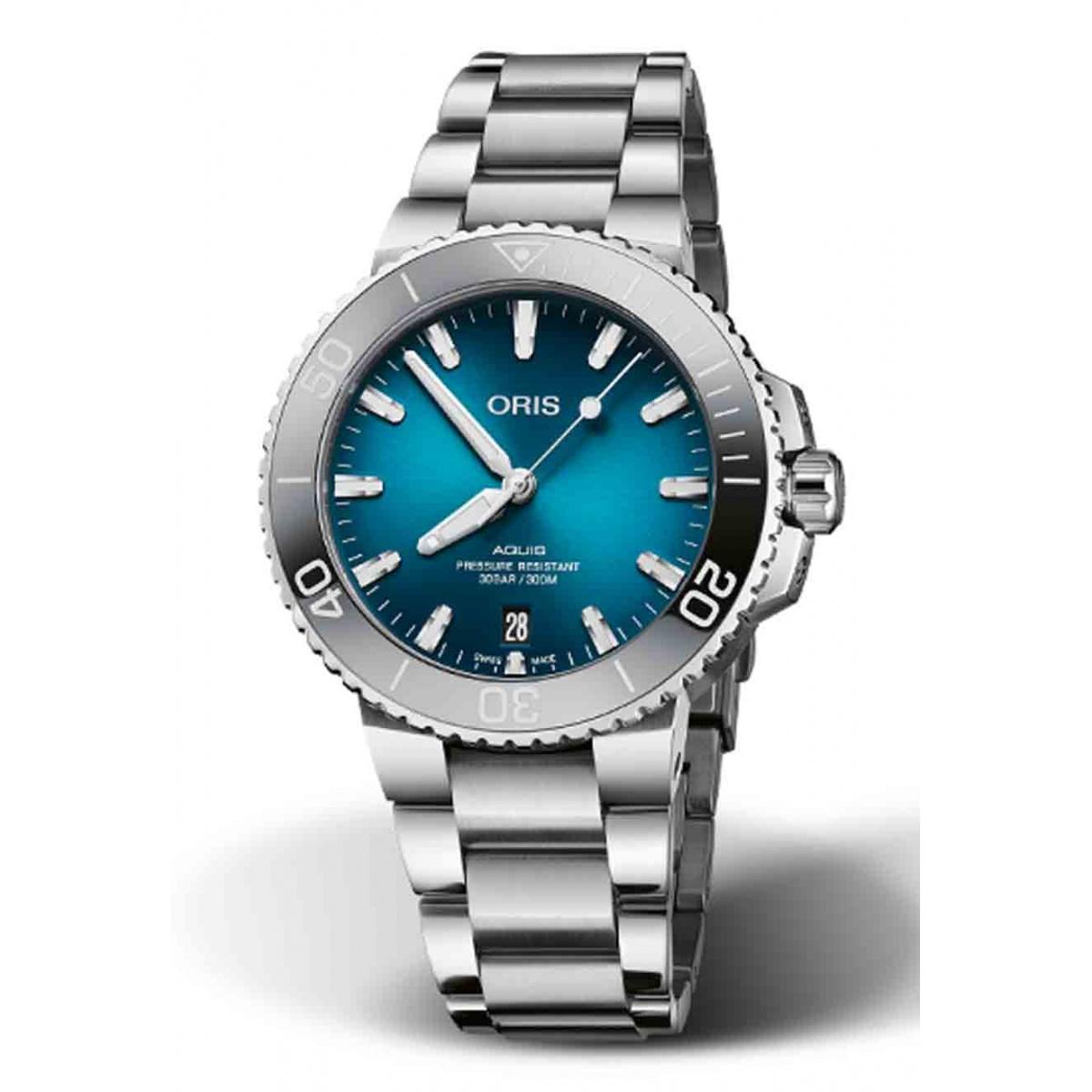 ORIS AQUIS DATE 300 M ∅39,5 mm, Esfera azul, brazalete acero
