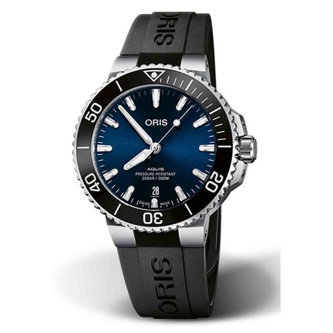 ORIS AQUIS DATE 300 M ∅41,5 mm, Esfera azul, bisel negro, brazalete caucho negro